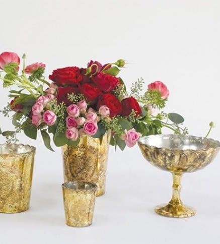Wedding Floral Rentals, Atlanta - Gold Compote Vases