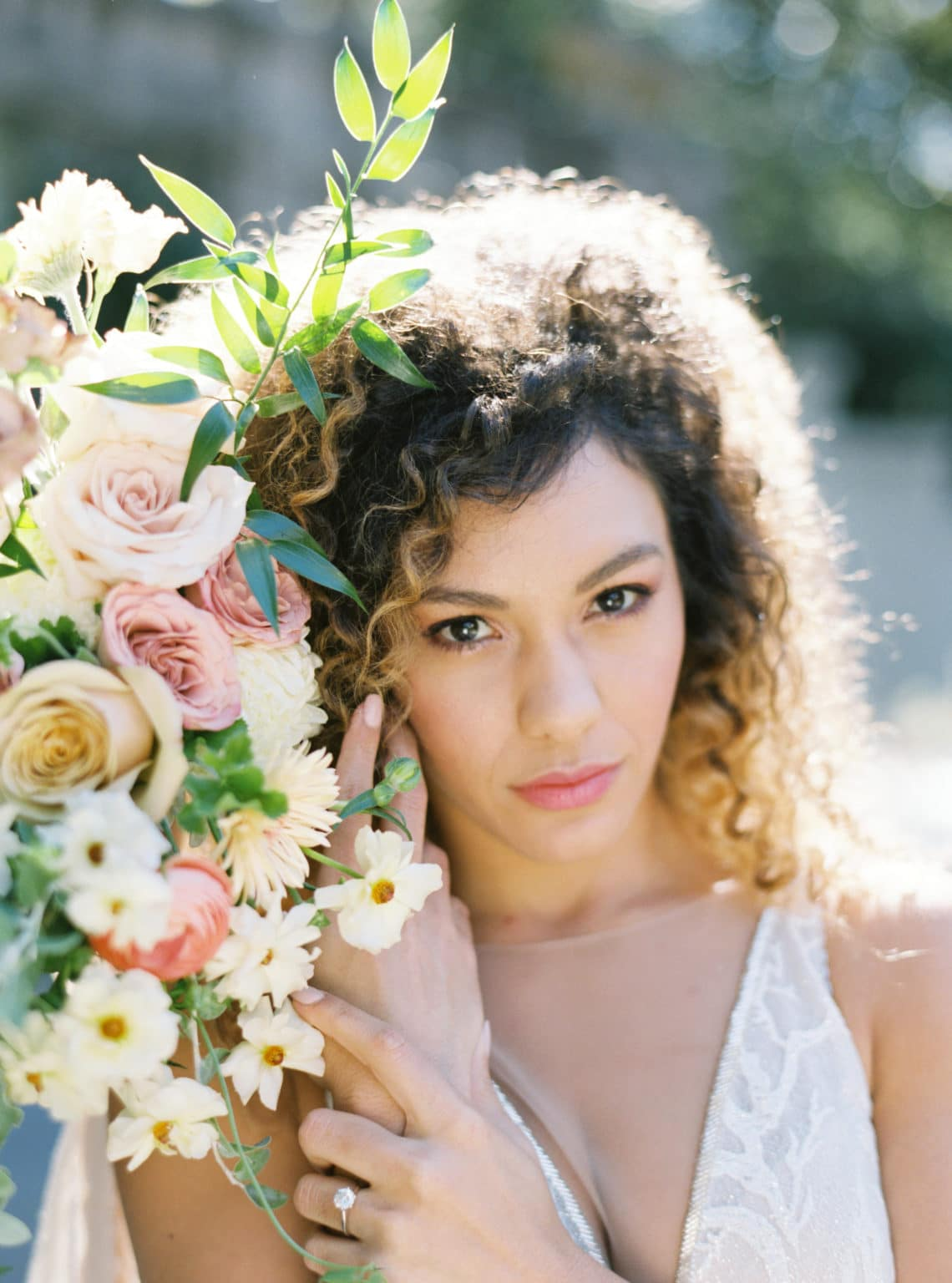 Close-up of Bride and bouquet at Atlanta's Historical Swan House