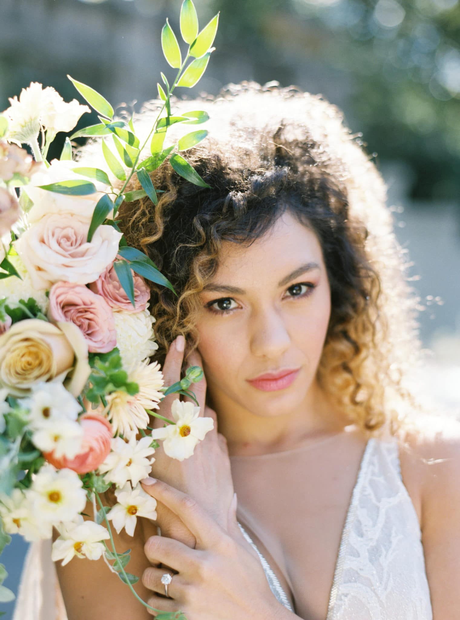 Close up of bride at Swan House Wedding at Atlanta History Center. Flowers by The Perfect Posey. Sarah Sunstrom Photography